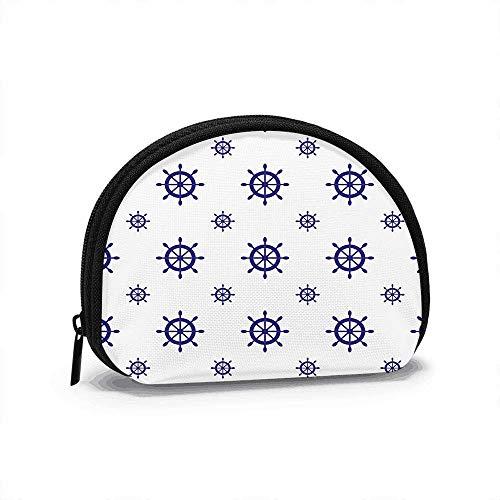 Nautical Ship Wheels Design Women Girls Shell Cosmetic Make Up Storage Bag Outdoor Shopping Coins Wallet Organizer