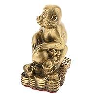 中国の十二支動物 飾り物 縁起物 風水 オブジェ インテリア 置物 幸運 象徴 真鍮 12種選べる - モンキー