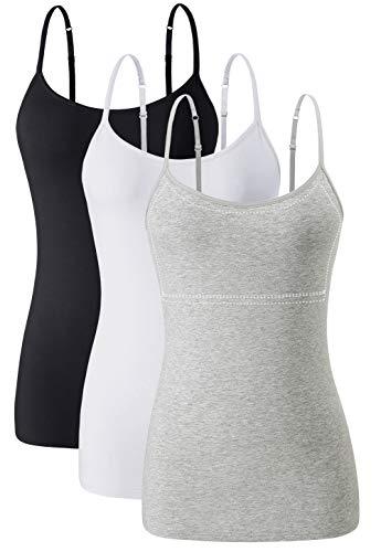 Orrpally Women Cotton Camisole Shelf Bra Cami Tank Tops Adjustable Spaghetti Strap Tank Top 3-Pack