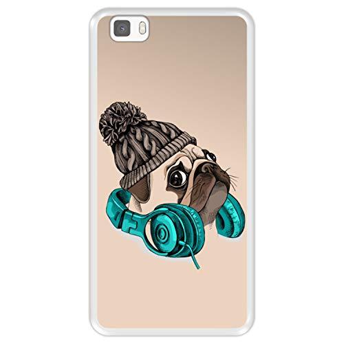 Funda Transparente para [ Huawei P8 Lite ] diseño [ Hipster Pug - Music It's my Escape ] Carcasa Silicona Flexible TPU