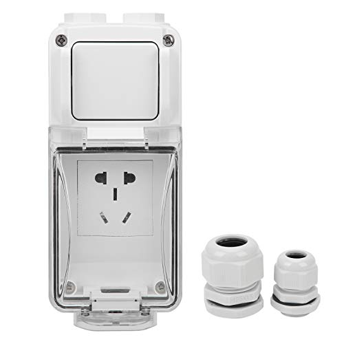 YIUS Enchufe de pared de plástico para exteriores de 250 V CA 3 agujeros Caja de interruptor impermeable ABS Tomas de corriente sin agujeros