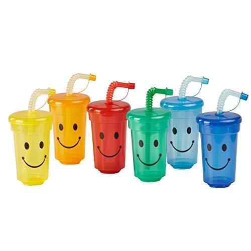 """Trinkbecher-Set""""Safety""""   6 Becher im Set mit Deckeln und verschließbaren Trinkhalmen   je 350 ml Füllmenge   aus Kunststoff   verschiedene Farben"""