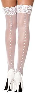 MUSIC LEGS Women's Lace Top Heart Backseam Sheer Thigh Hi