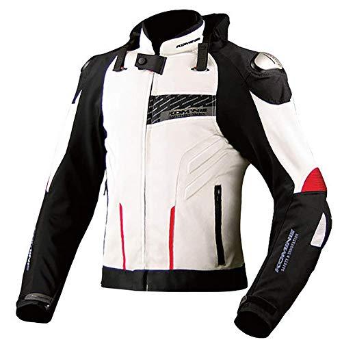 LALEO Textil Stickerei Motorradjacke mit LED-Warnleuchte, Unisex Vier Jahreszeiten mit Titanlegierung Protektoren Atmungsaktives Wasserdicht Winddicht Anti-Fall Große Größe,Weiß,XXXXL