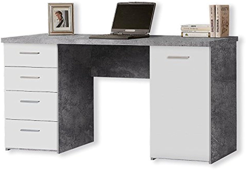 Trend-moebel Schreibtisch COMPUTERTISCH BüRO PC-Tisch SCHUBKASTEN Home Office Beton Weiss NEU