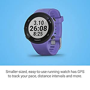 Garmin Forerunner 45S, 39mm Easy-to-use GPS Running Watch with Coach Free Training Plan Support, Purple