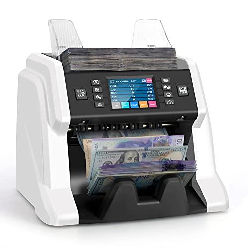 RIBAO BC-55 Premium Bank Grade Money Counter Machine Multi Currency Mixed Denomination Bill Cash Value Counter 2 CIS/UV/MG/MT/IR Serial Number...