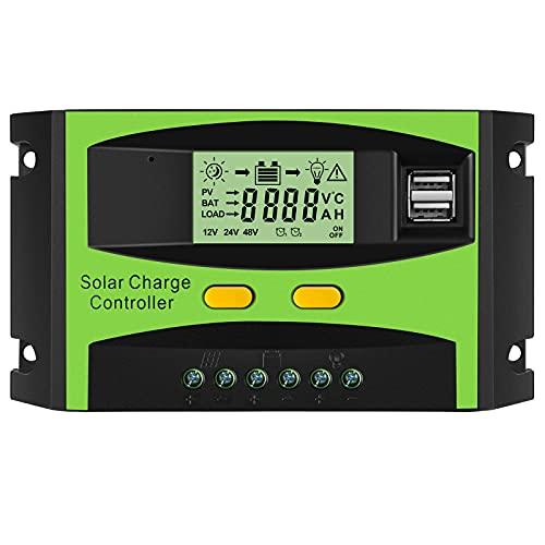 PAIRIER Controlador de Carga Solar Inteligente 30A 12V/24V Panel Solar Regulador con Pantalla LCD y Doble Puerto USB para Panel Solar Lámpara Batería y Iluminación LED