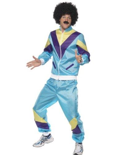 Smiffy's Smiffys 80s Height of Fashion Shell Suit Costume Disfraz de chándal al colmo de la Moda de los 80 con Chaqueta y Pantalones, Multicolor, L 39298L