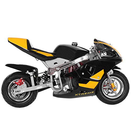 Mini Gas Pocket Bike Motorcycle Gas Power 49cc 4-Stroke Engine for Kids and Teens US Stock Black/Yellow/Green/Pink (Yellow)