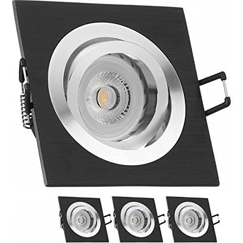 3er LED Einbaustrahler Set Bicolor (chrom / schwarz) mit LED GU10 Markenstrahler von LEDANDO - 7W - warmweiss - 30° Abstrahlwinkel - schwenkbar - 50W Ersatz - A+ - LED Spot 7 Watt - Einbauleuchte LED eckig