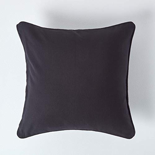 HOMESCAPES - 100% Cotton Plain Black Large Cushion Cover- 60 x 60 cm Square - 24 x 24 Inches - Sofa Cushion Pillow Cover - Washable