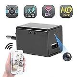 Mini cámara espía Oculta Full HD 1080P Cargador USB Cámara WiFi para vigilancia de Seguridad doméstica con visión remota/detección de Movimiento/grabación en Bucle + Enchufe de conversión