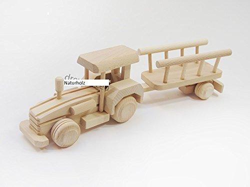 WoMa Kreativ Trecker mit Anhänger Traktor ökologisches Spielzeug Bauernhof Holztrecker Naturholz Schlepper L 34 cm