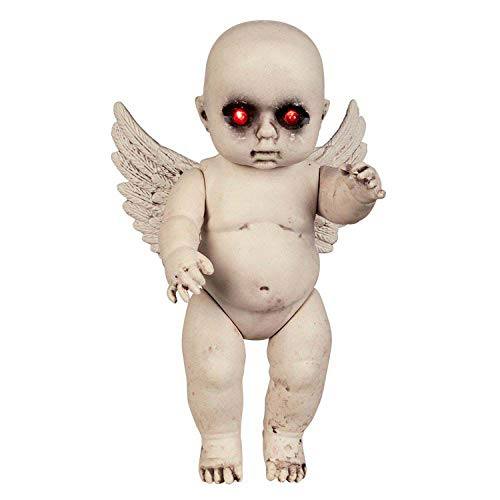 Boland 72266 – Muñeca de ángel diabólico, tamaño 30 cm, de plástico, maniquí terrorista con ojos luminosos, ángel bebé, diablo y decoración para carnaval, Halloween, fiesta temática y terrorista