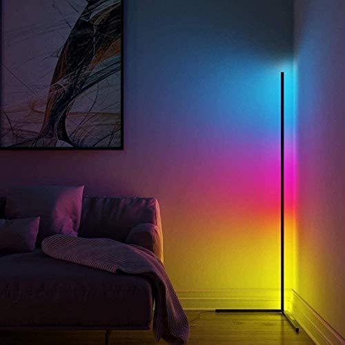 Lampada da terra a LED da 156 cm, dimmerabile con telecomando, per soggiorno, moderno, cambia colore, colore nero, lampada da terra per camera da letto, 18 Watt (156 cm di bianco)