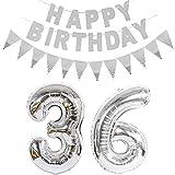 Lot de 2 ballons en forme de chiffre 36 argenté + guirlande Happy Birthday + bannière en aluminium argenté 36 ans Décoration d'anniversaire pour homme femme 36 ans 36 ballons