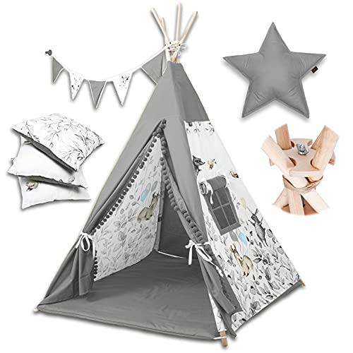 PALULLI Tipi Spielzelt für Kinder mit Matte & Anti-Kollaps-System & 4 Dekokissen Baumwolle- Segeltuch Kinderzelt (Bambi GRAU)