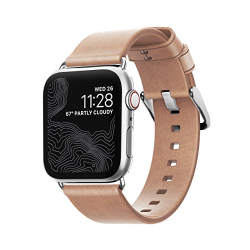Nomad Modern Strap (Slim) for Apple Watch 40mm/38mm | Natural Horween Leather | Silver Hardware