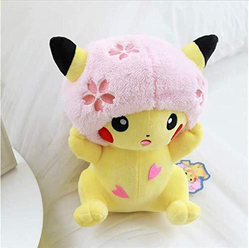 lili-nice Pikachu Gefüllte Spielzeug Cartoon Kirschblüten Maus In Hut Süße Plüschpuppe Dekoration Geschenke Für Kinder 22Cm