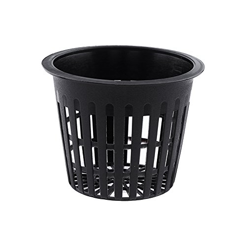 10pcs Mesh Pot Net Cup Basket Hydroponic Aeroponic Flower Planting Container for Plant Grow Clone Gardening(Black)