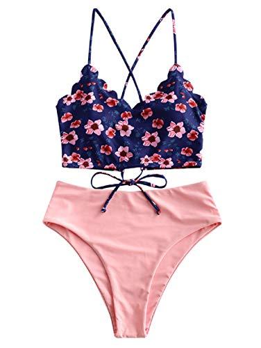 ZAFUL Damen Zweiteiliger Bikinis, gepolsterter Badeanzug mit Blattdruck Schnür-Tankini Oberteil hochtaillierte Shorts gemischter Badeanzug (Rosa, L-EU 40)