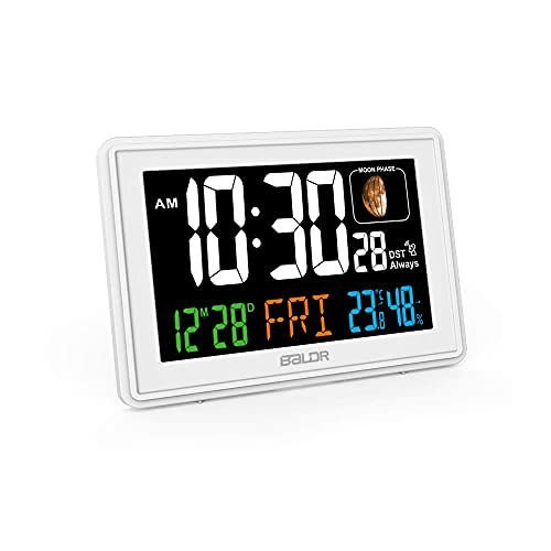 BALDR Atomic Alarm Clock in Color - Digital Clock with Large Display - Calendar & Moon Phase - Indoor Temperature & Humidity - Dimmable Backlight Brightness - Perfect for Bedroom or Office, White