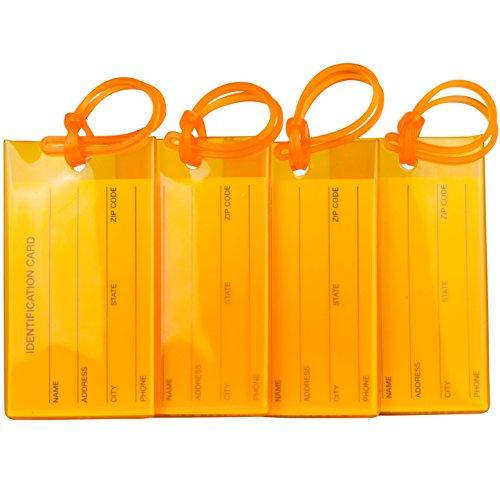 TravelMore 4er-Pack Gepäckanhänger Kofferanhänger mit Adressschild, Silikon-Kofferanhänger Luggage Tag zur Identifizierung von Tasche, Koffer und Gepäck auf Reisen - 4 Stück Bag Tags - Orange