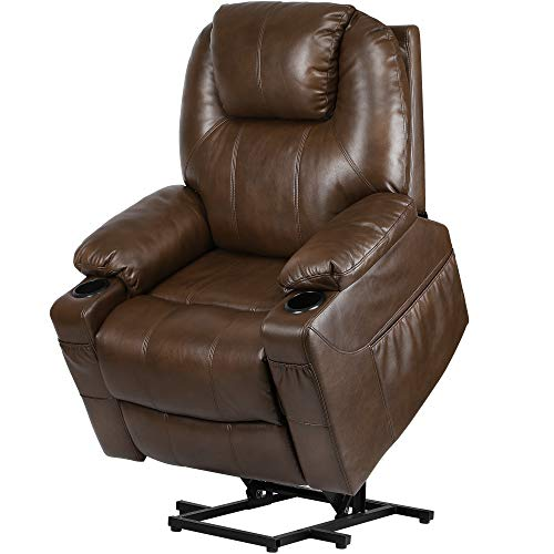 YITAHOME Massage Recliner Chair, Electric Power Lift Recliner with Massage Heat for Elderly, Breath Leather Recliner Chair with 2 Cup Holders, Side Pockets & Remote Control for Living Room (Brown)