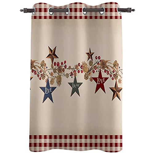 """Darkening Blackout Window Curtains Drapes 72"""" Length Country Stars Texas Berries Thermal Insulated Grommet Blocking curtains Treatment for Kids Bedroom/Living Room 52"""" Wide Farmhouse Rustic Red Plaid"""