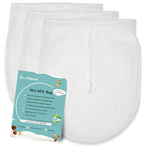Nut Milk Bag Reusable 3 Pack 12' x 10' Cheesecloth Bags for Straining Almond/Soy Milk Greek Yogurt Strainer Milk Nut Bag for Cold Brew Coffee Tea Beer Juice Fine Nylon Mesh Cheese Cloth