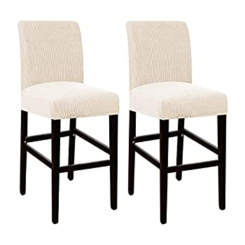 High Stretch Bar Stool Cover Pub Counter Stool Chair Slipcover for Dining Room Cafe Furniture Chair Seat Cover Stretch Protectors Non Slip with Elastic Bottom Set of 2 Biscotti Beige
