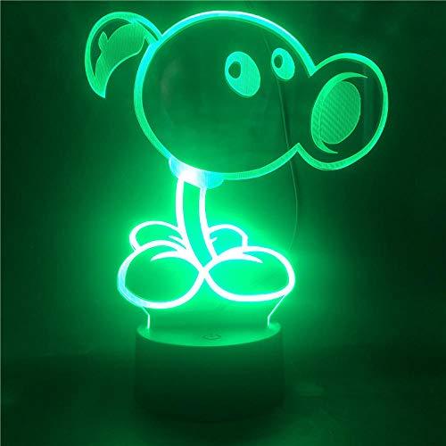 Lámpara De Ilusión 3D Luz De Noche Led Plants Vs. Zombies Game Figure Campesino Para Niño 7 Colores Chnage Dormitorio Lámpara De Mesa Regalos