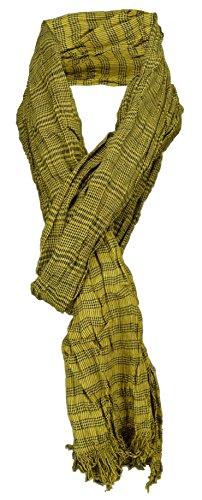 TigerTie gecrashter sjaal in geel mosterdgeel zwart geruit met kleine franjes - maat 180 x 50 cm.