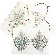 Mermaid Breast Gems Glitter,3 Sets of Body Jewels Rave Festival Rhinestone Face Body Jewelry Stick On Crystal Tattoo Nipple Chest Crystal Body Gem Stones Bindi Stickers(3 Sets Breast Gems Glitter)
