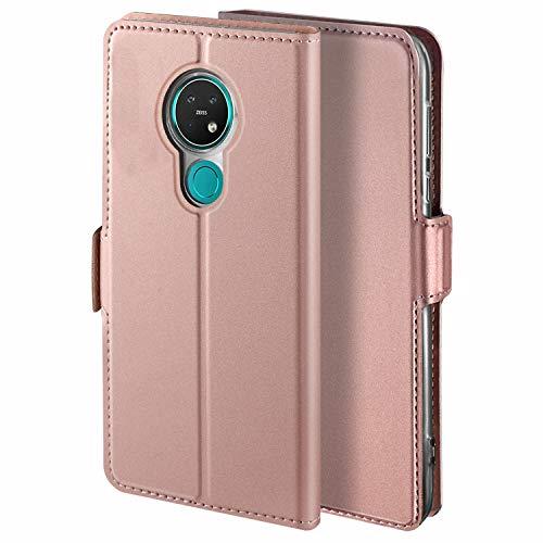 YATWIN Handyhülle für Nokia 7.2 Hülle, für Nokia 6.2 Schutzhülle Leder Premium Tasche Hülle, Schutzhüllen aus Klappetui mit Kreditkartenhaltern, Ständer, Magnetverschluss, Rose Gold
