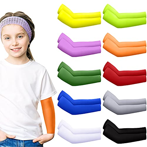 10 Pairs Sun Protection Cooling Arm Sleeves Ice Silk Elastic Arm Sleeves for Kids Toddlers Outdoor Sports (Chic Color)