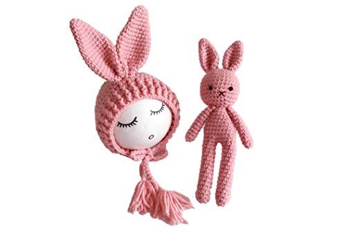 Matissa Sombrero de Conejo y Juego de muñecas Traje de Punto de Ganchillo para bebé recién Nacido Fotografía Prop (Rosado)