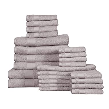 KT Towels Premium Towel Set - Bath Towels, Hand Towels and Washcloths - 100% terry Cotton - Machine washable, Hotel Quality, Super Soft and Highly Absorbent by Amber Spa Range (platinum, 24 pc set)