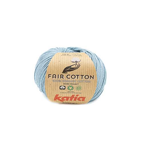Katia Fair Cotton Fb. 41 bleu Azur, Biobaumwolle Garn, organische Baumwolle, Organic Cotton Garn, Bio Baumwolle zum Stricken oder Häkeln