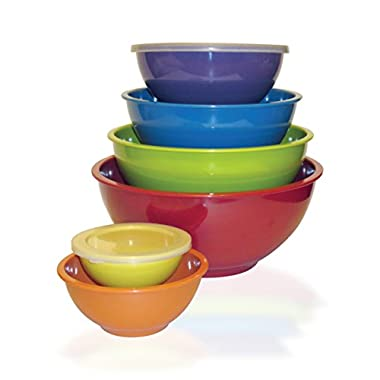 Kitchenbasics 6 Sets of Nesting Melamine Mixing Bowls with Air Tight Lids, BPA Free, Stackable