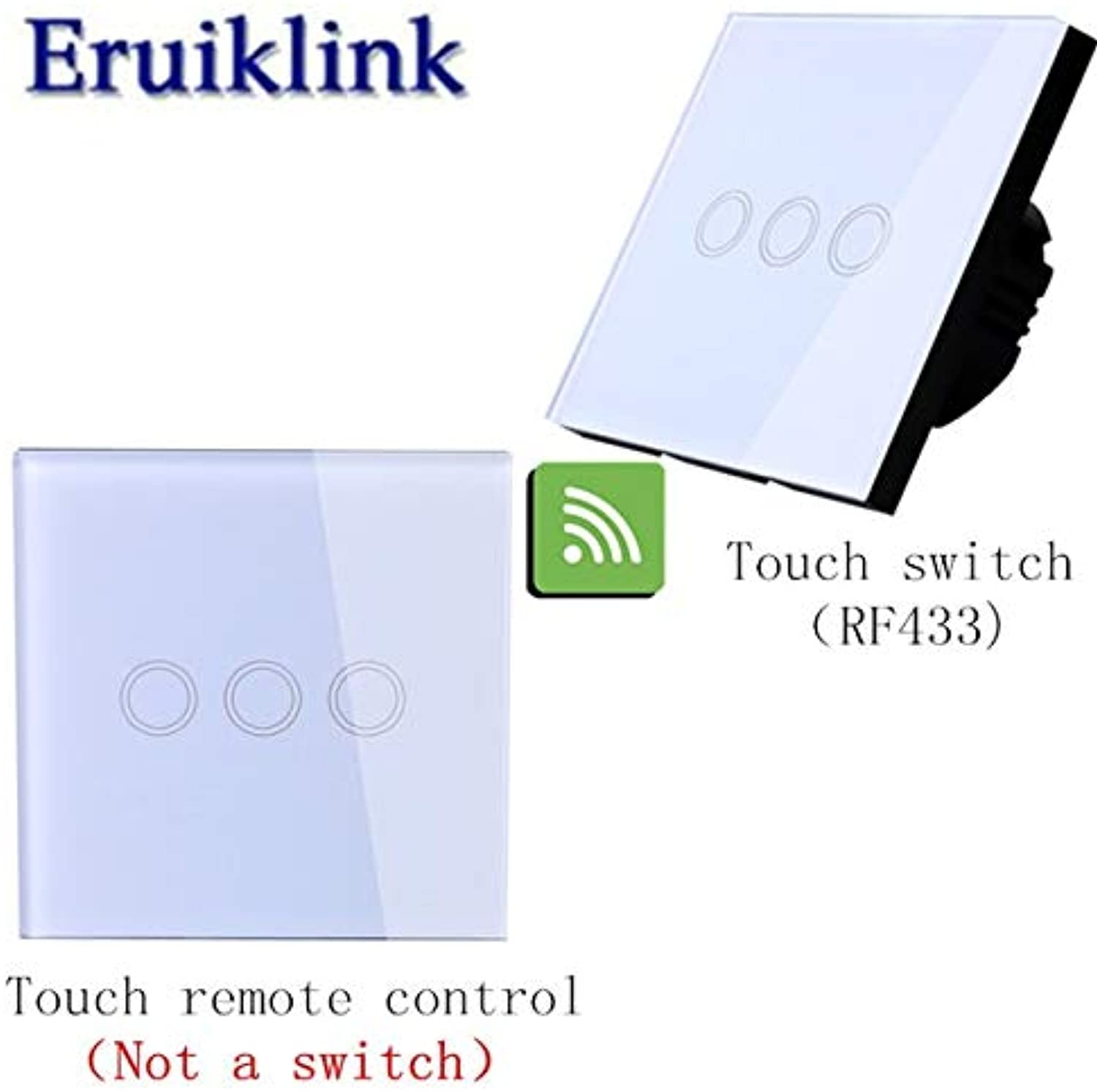 EU UK Standard 1 2 3 Gang 1 Way Remote Control Switch,White Black Glass Panel Lamp Switch 220V Wall Light Touch Switch  (color  3gang White)
