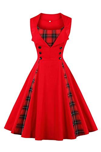 Axoe Damen Vintage Kleid Rockabilly 50er Jahre Cocktailkleid Rot mit Karierten Gr. 38