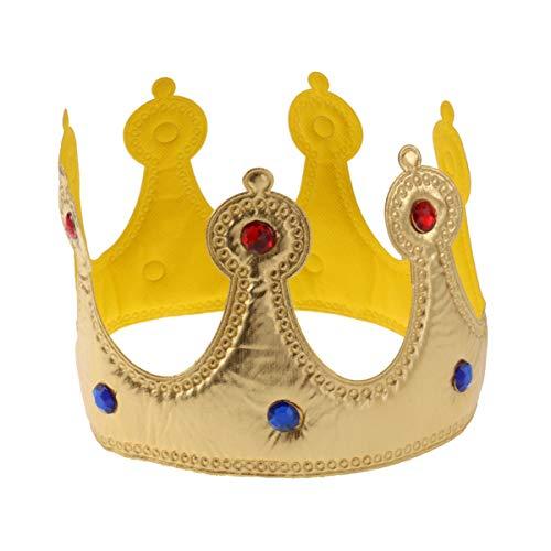 TOYANDONA Corona de Rey Niños Sombrero de Fiesta de Cumpleaños Princesa Tiara Diadema Accesorios de Disfraz Favores de Fiesta de Oro