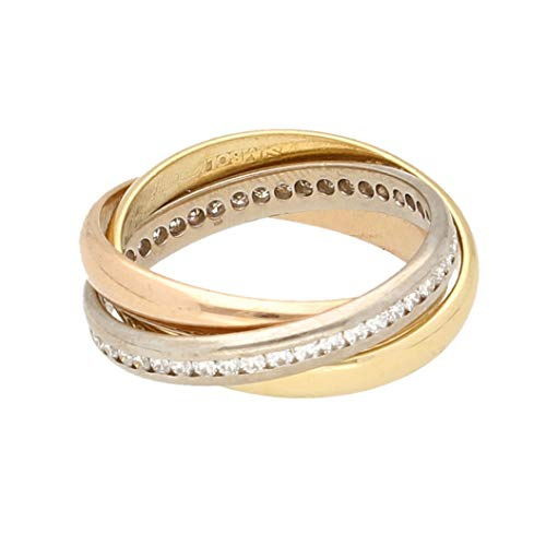 Anillo de boda ruso de oro amarillo de 18 quilates, blanco y rosa de 0,50 quilates (talla J 1/2)   Anillo de lujo para mujer