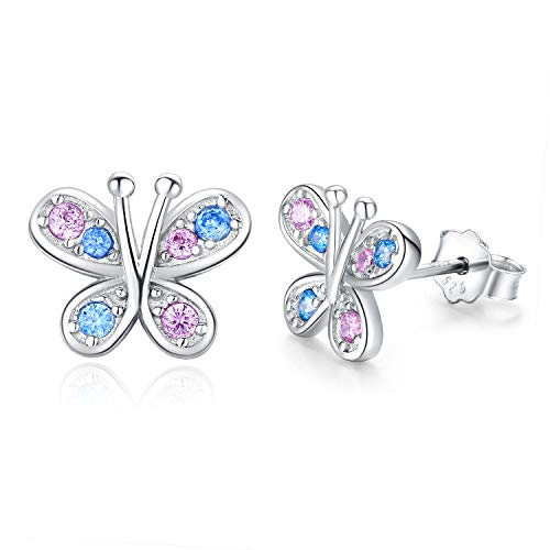 Butterfly Stud Earrings 925 Sterling Silver Cubic Zircon Butterfly Earrings Mother's Day Gifts for Women Butterfly Gifts for Girls Kids