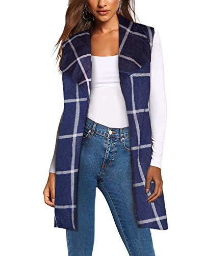 Women's Vest Jacket Cardigan Blazer with self Fabric Belt KJK1142 112030 NAVY/WHITE L