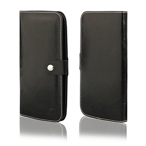 MOELECTRONIX HQ Buch Tasche SCHWARZ Klapp Schutz Hülle Wallet Flip Case Etui passend für Mobistel Cynus F7