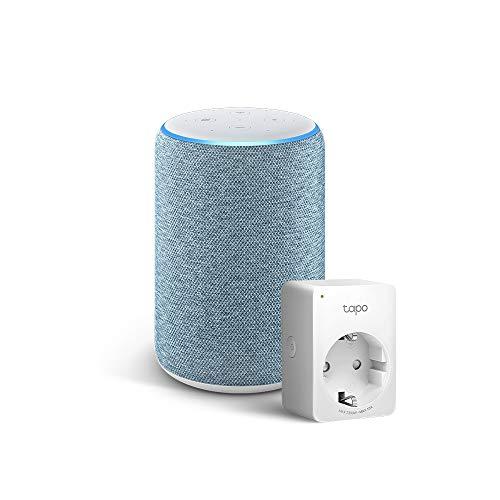 Amazon Echo (3ª generazione) - Tessuto blu-grigio +Tapo P100 Presa intelligente Wi-Fi, compatibile con Alexa