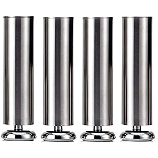 4X 200mm (Height) Qrity Cabinet Stainless Steel Legs Kitchen Feet Worktop TV Desk Table Legs Furniture Sofa Legs - Rubber Mat - Safe & Silent - Dia 50mm:Tourlombok-piranti